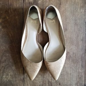 Marc Fisher 8.5 POINTY FLATS d'Orsay metallic nude